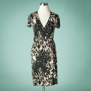 Banana Republic M Silk Animal Print Wrap Dress